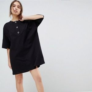 ASOS Oversized T-Shirt Dress with Popper Placket